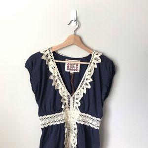 Chelsea & Violet Peasant Dress Boho Navy Lace M